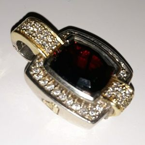 Lagos Caviar Garnet & Pave Diamond SS/18k Enhancer